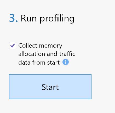 Run profiling column in dotMemory 2021.1.