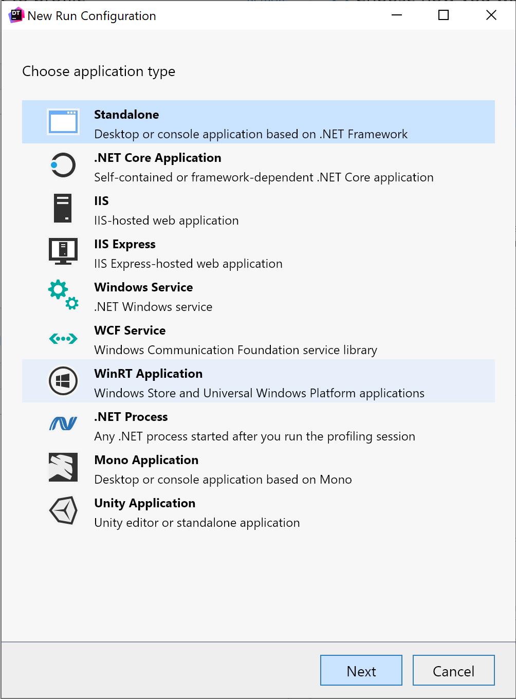 dotTrace new run configurations dialog screen in 2021.1.