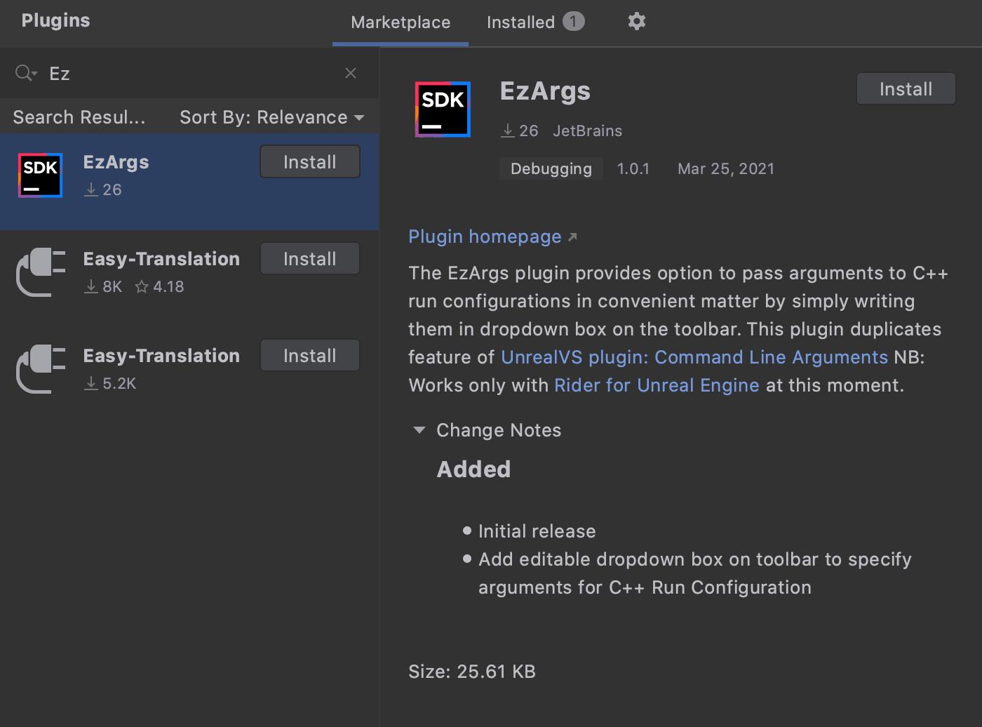 EzArgs plugin