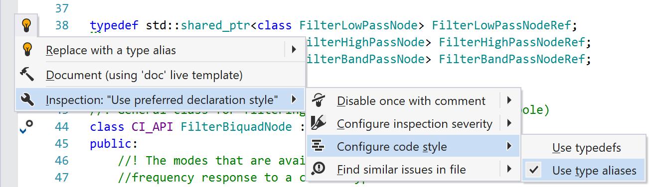 Настройки стиля синтаксиса в контекстном меню
