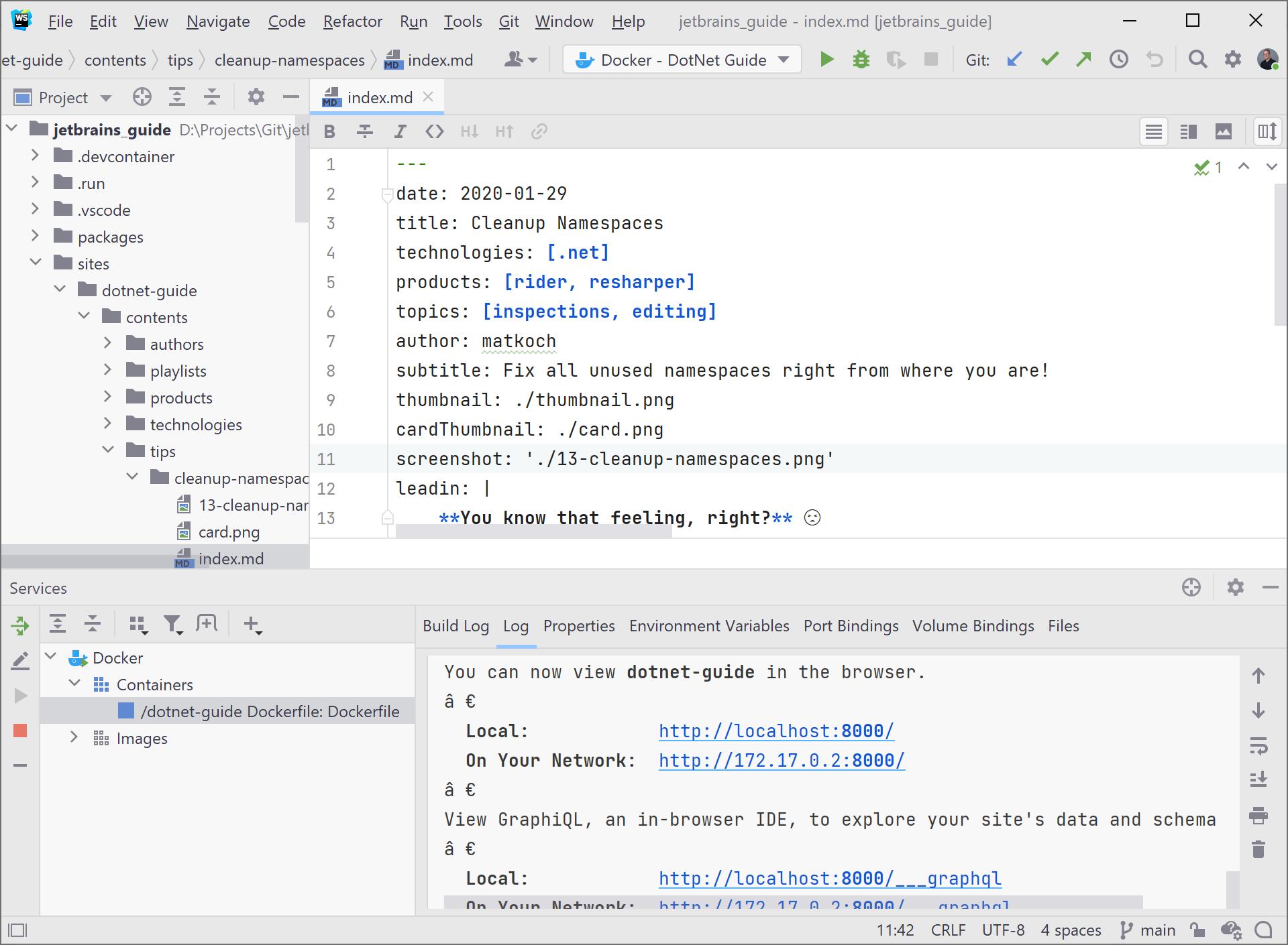 JetBrains Guide, Docker, and WebStorm