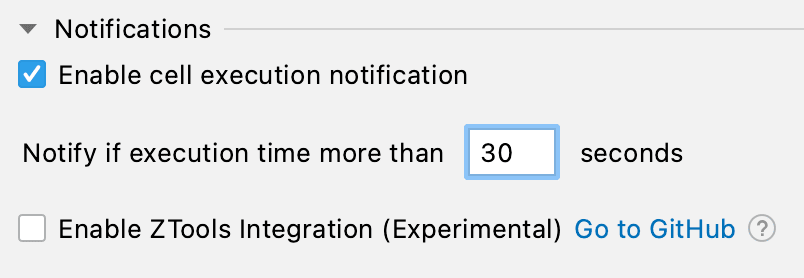 Cell Execution Settings Panel