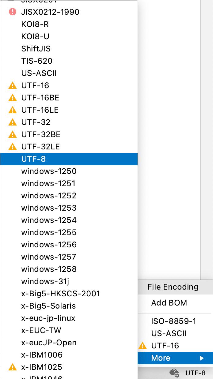 File Encoding Drop-down List