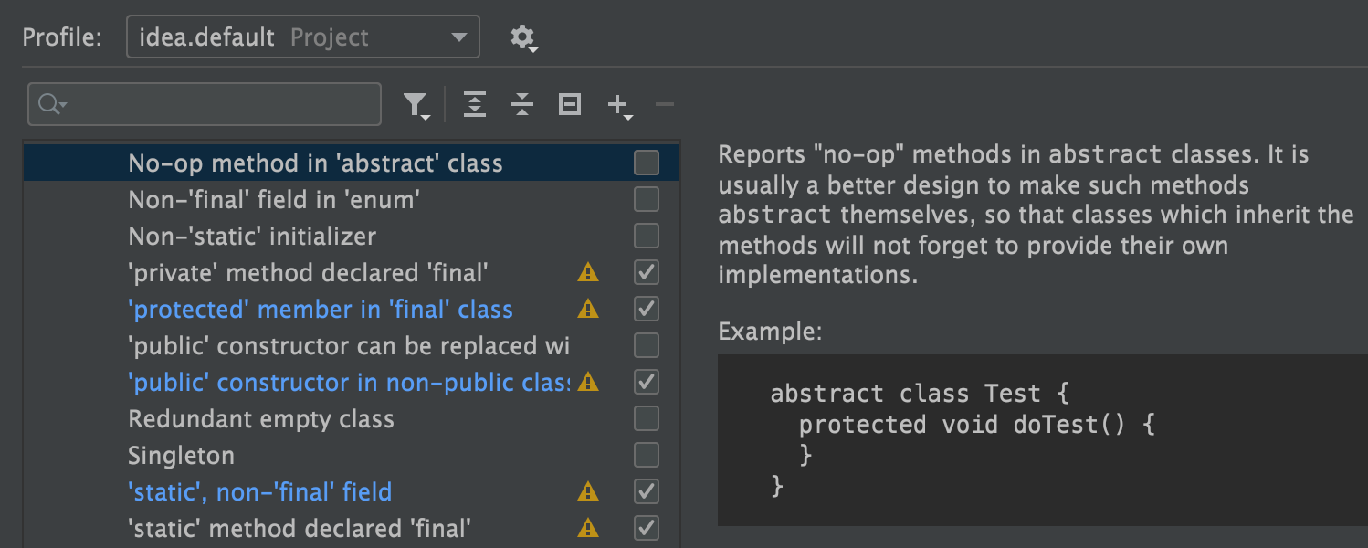Updated Java Inspections