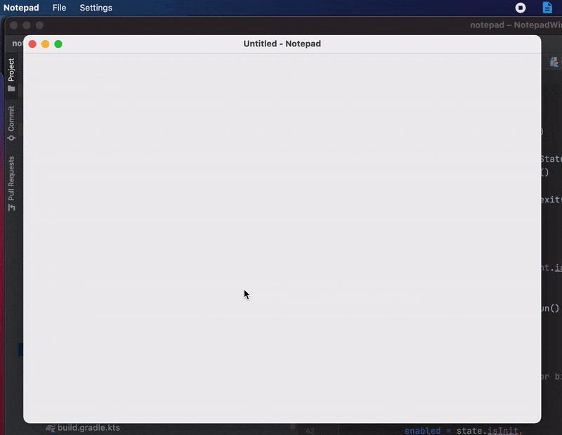 Demonstration of Notepad application built with Compose for Desktop