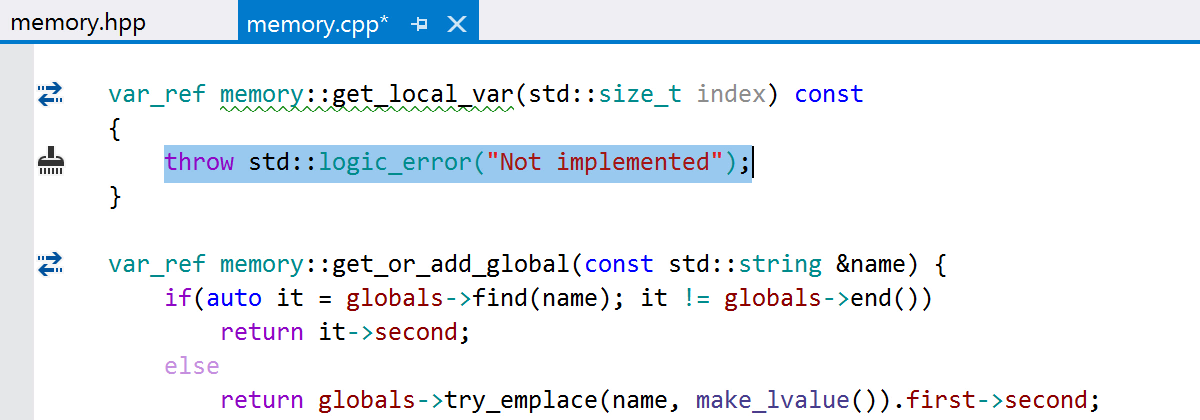 The generated function throws std::logic_error