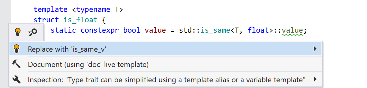 Type trait can be simplified using a template alias or a variable template