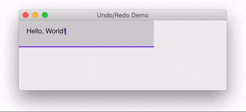 Demonstration of the undo and redo functionality