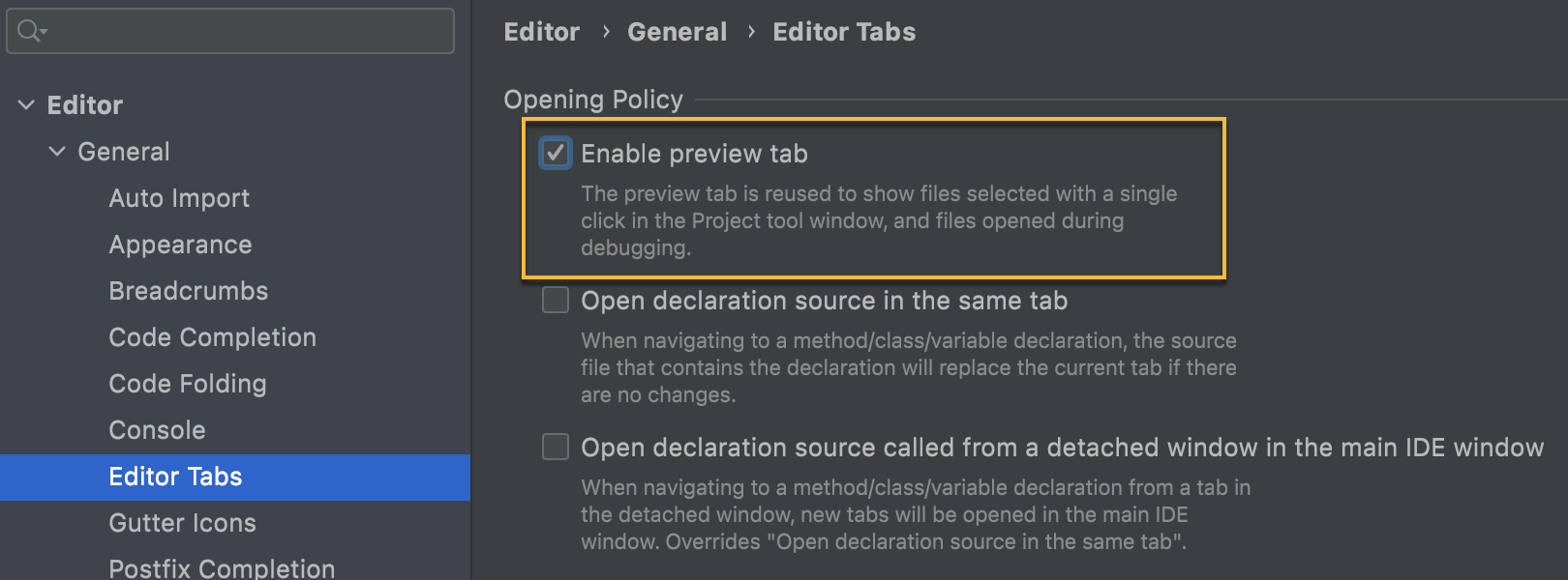 Preview tabs settings