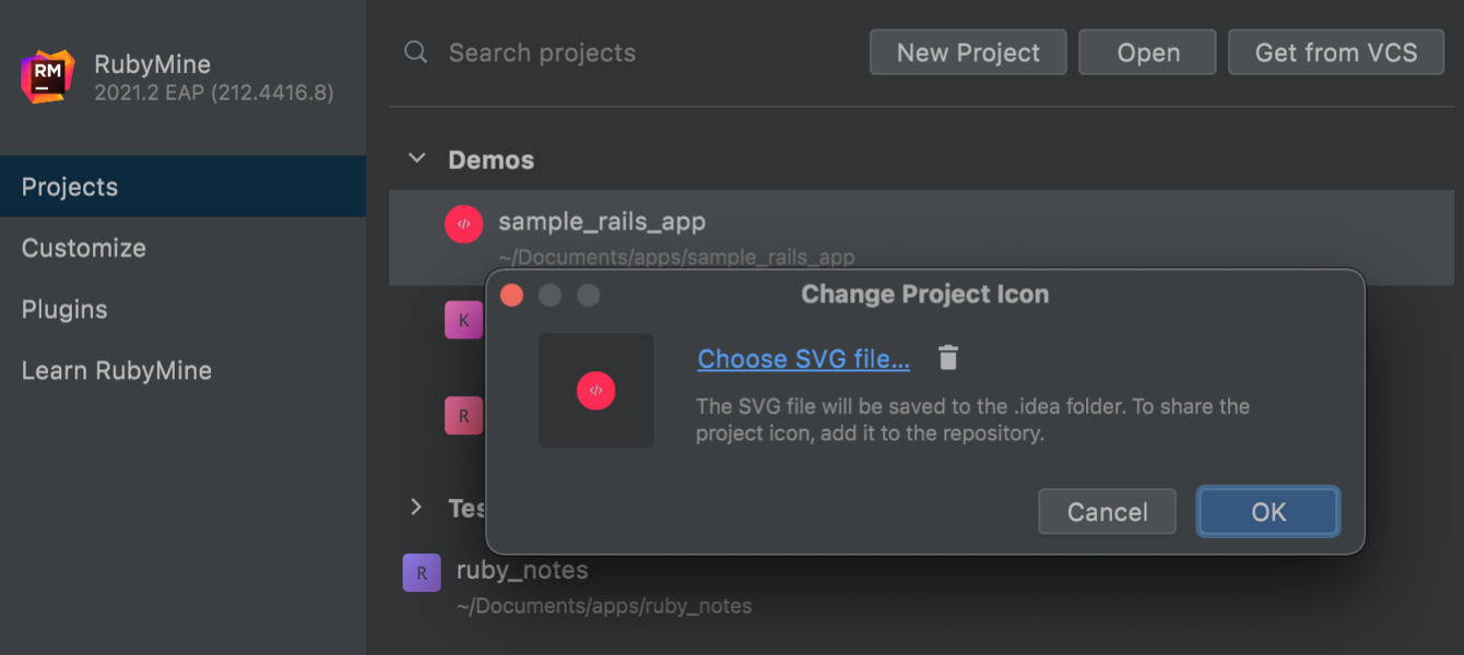 Change the project icon