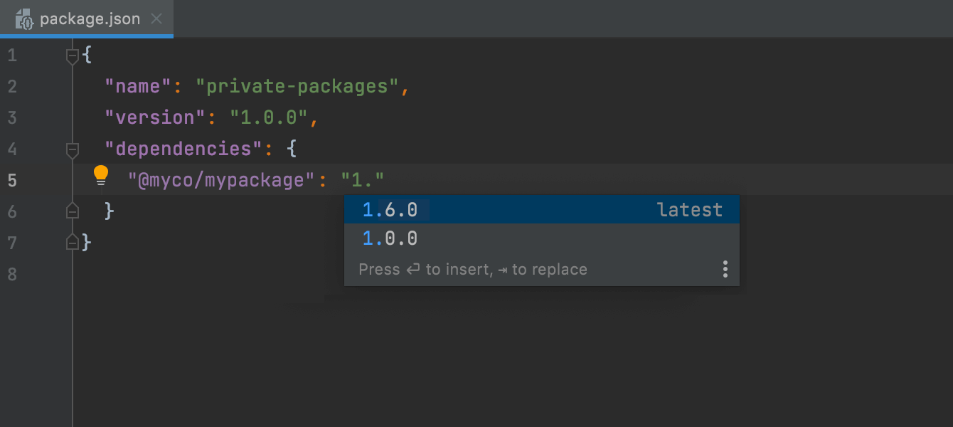 Completion for private npm packages