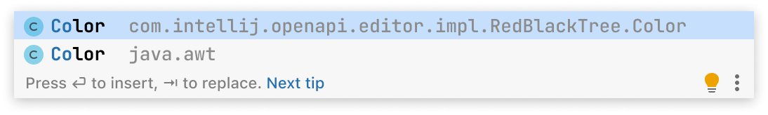 A code completion popup with two entries. First entry is Color class from com.intellij.openapi.editor.impl package. Second entry is Color class from java.awt package.