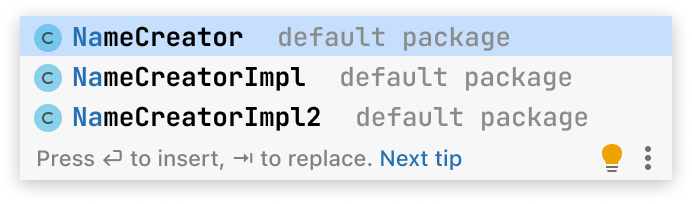 A code completion popup with three entries. First entry is NameCreator class. Second entry is NameCreatorImpl class. Third entry is NameCreatorImpl2 class.