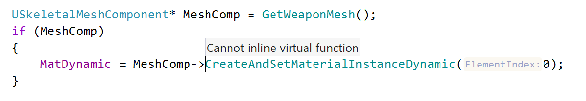Cannot inline virtual function