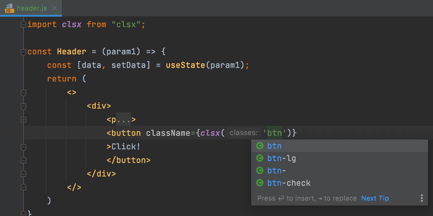 clsx-support-in-webstorm