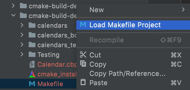 Load Makefile project