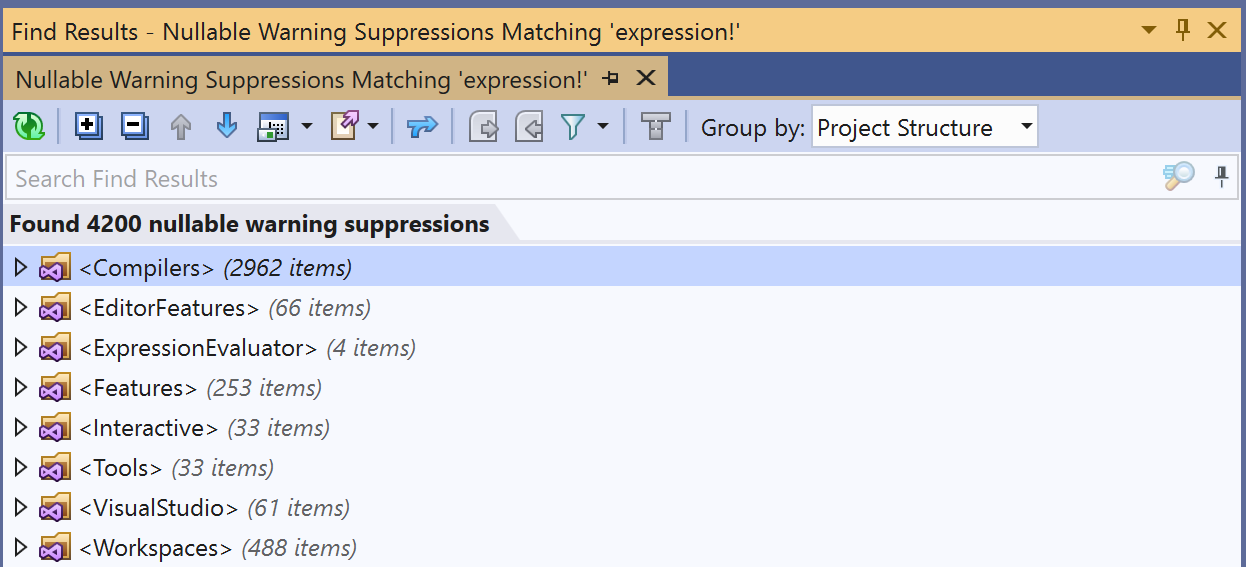 Nullable warning suppressions in Roslyn