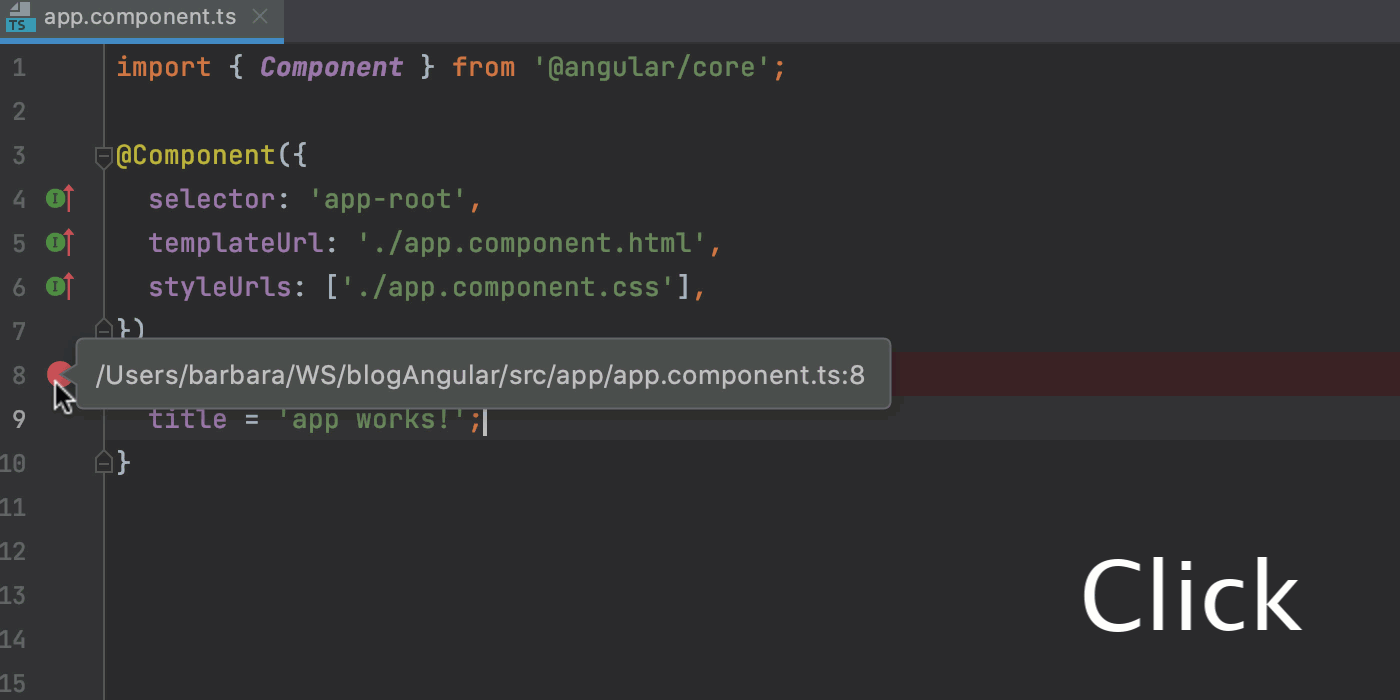Adding and removing a breakpoint