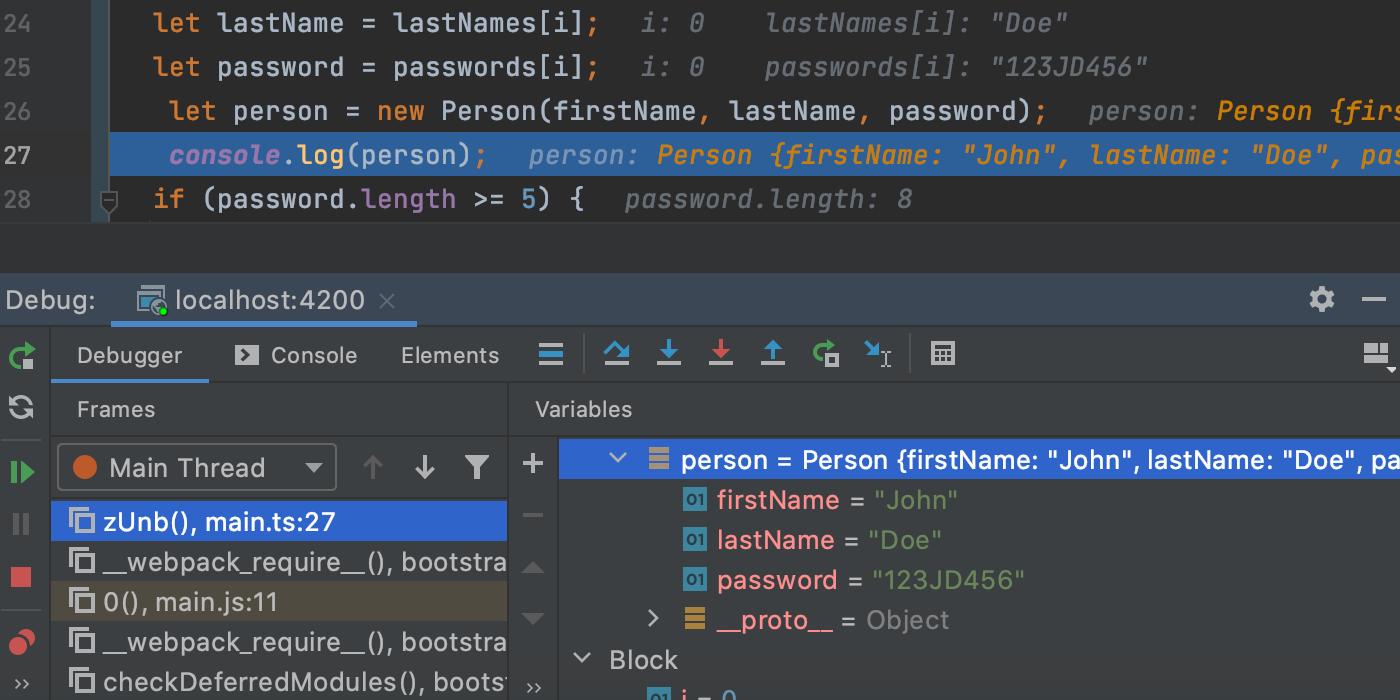 Angular debugging session.