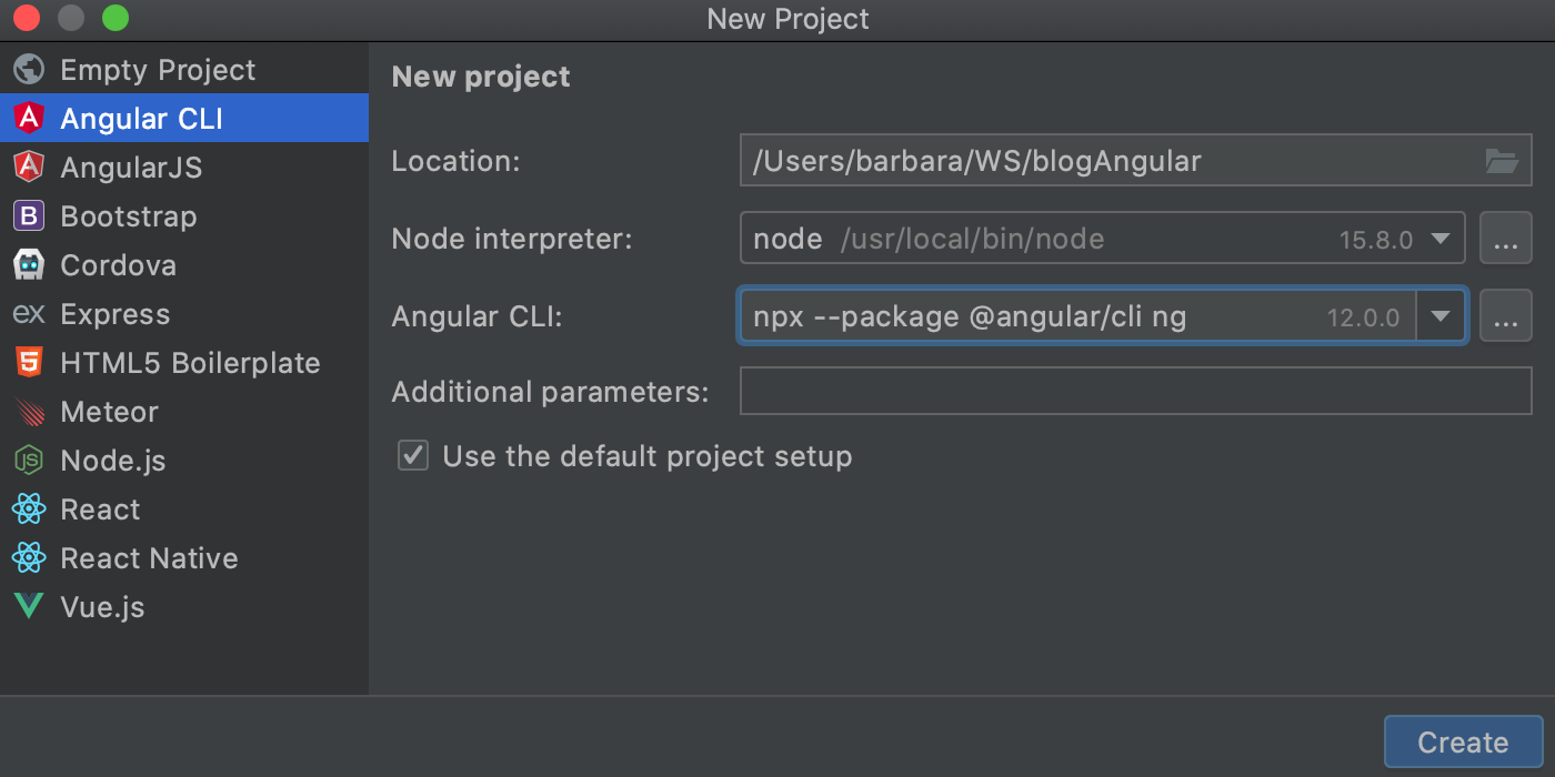 Generate an Angular app with Angular CLI (downloaded automatically using npx)