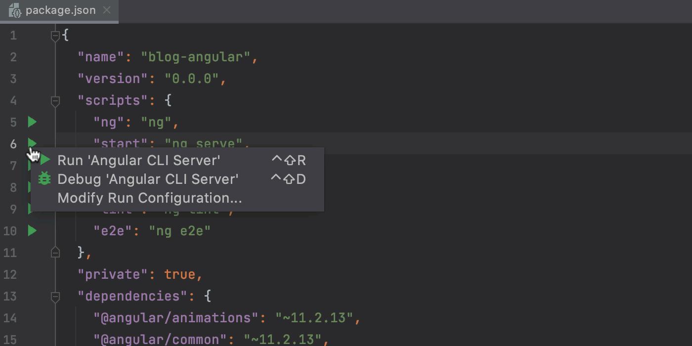 Run an Angular app in the development mode from package.json