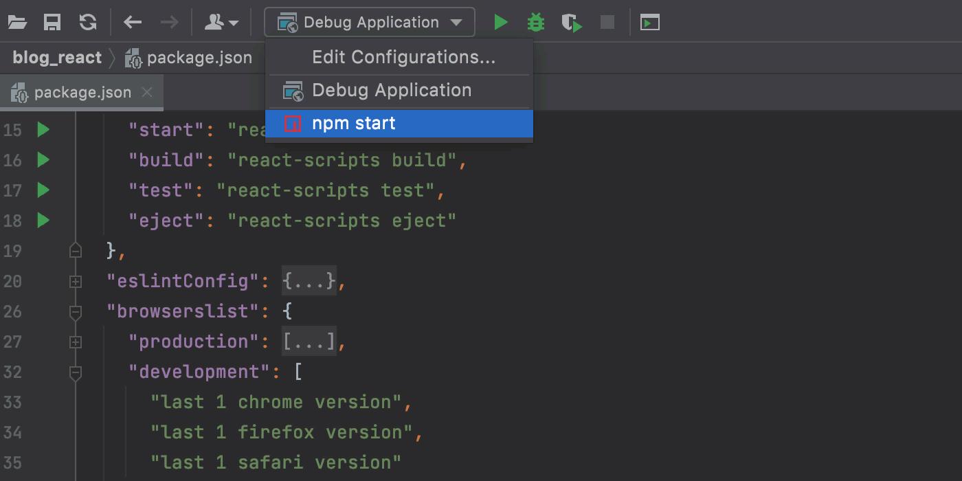 Run a React app in the development mode via a run/debug configuration.