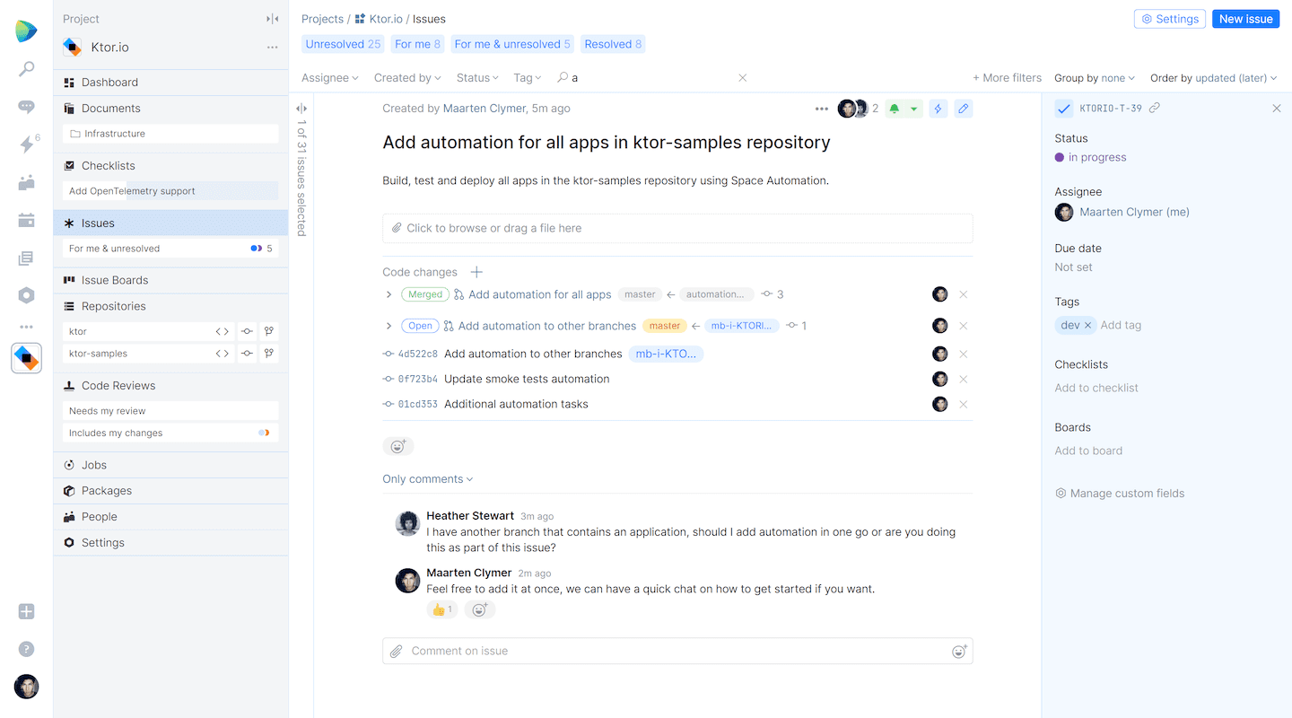 Link issues to commits, code reviews, and merge requests in Space