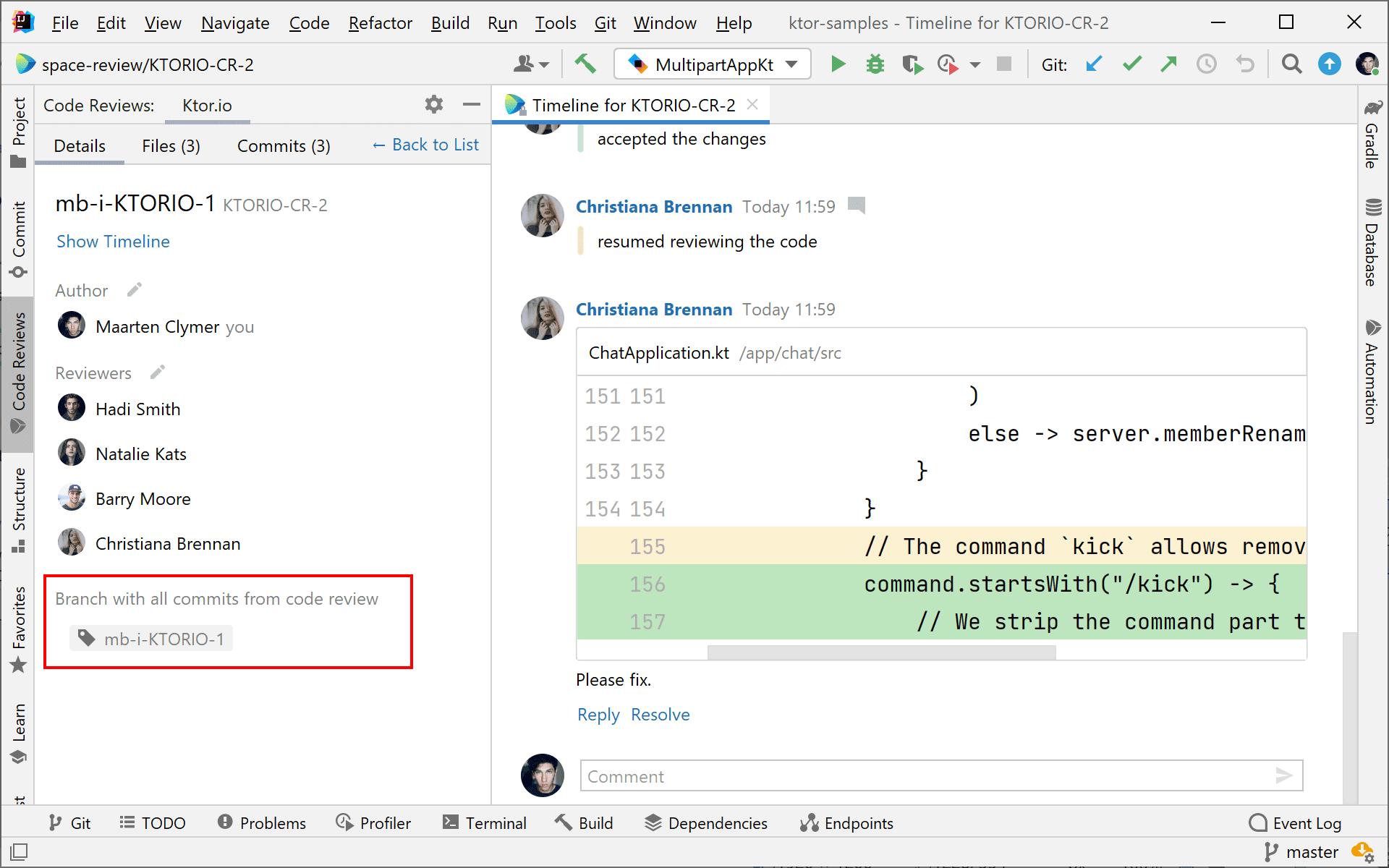 Branch display in code reviews