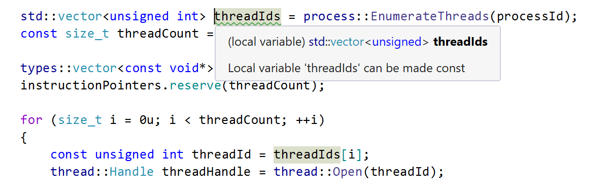 Use const to define objects with values that do not change after construction