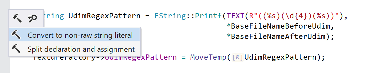 Convert to non-raw string literal