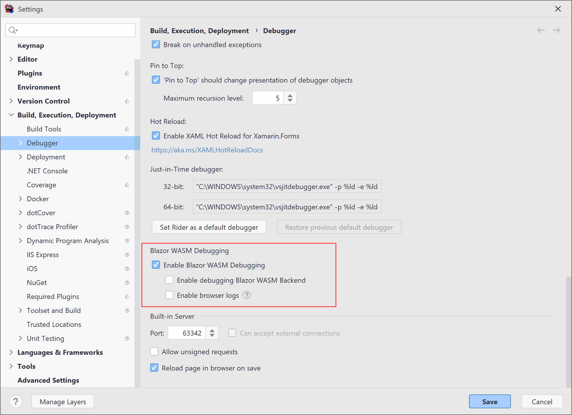 Settings for WASM debugging
