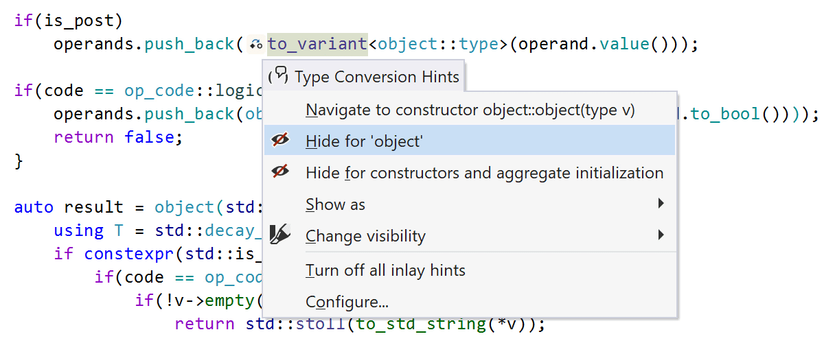 An exclusion list for type conversion hints