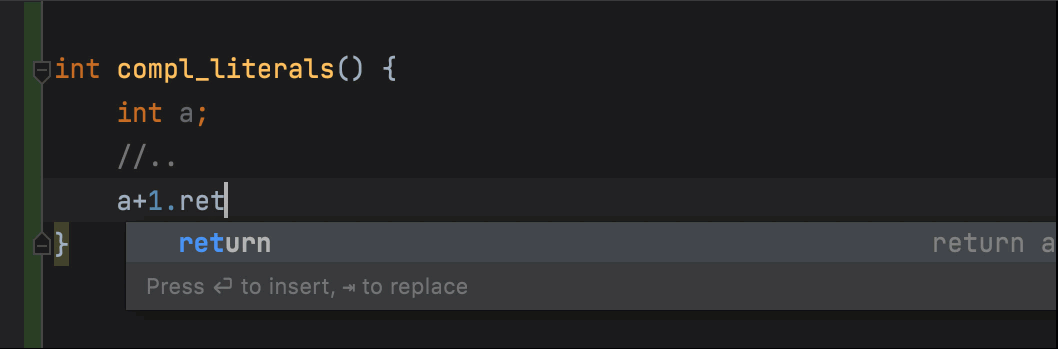 Postfix completion for literals