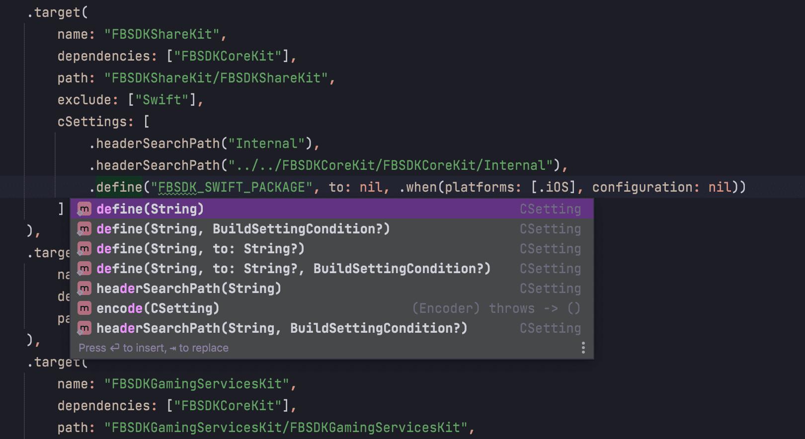 SPM build settings