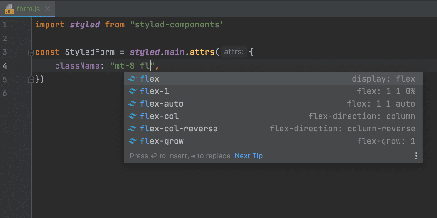 tailwind-class-name-completion-in-styled-components