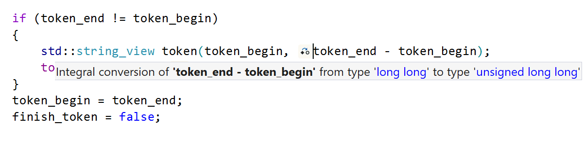Integral type conversion hint