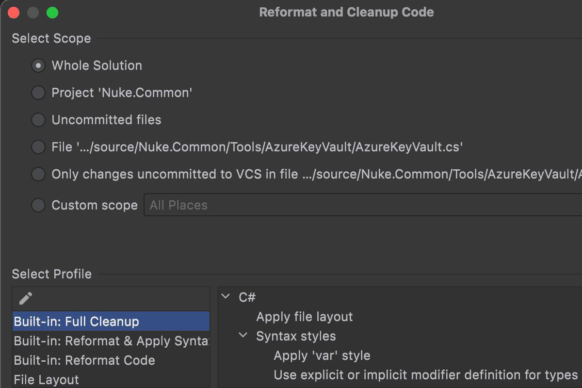 Окна Reformat и Cleanup Code в Rider 2021.2