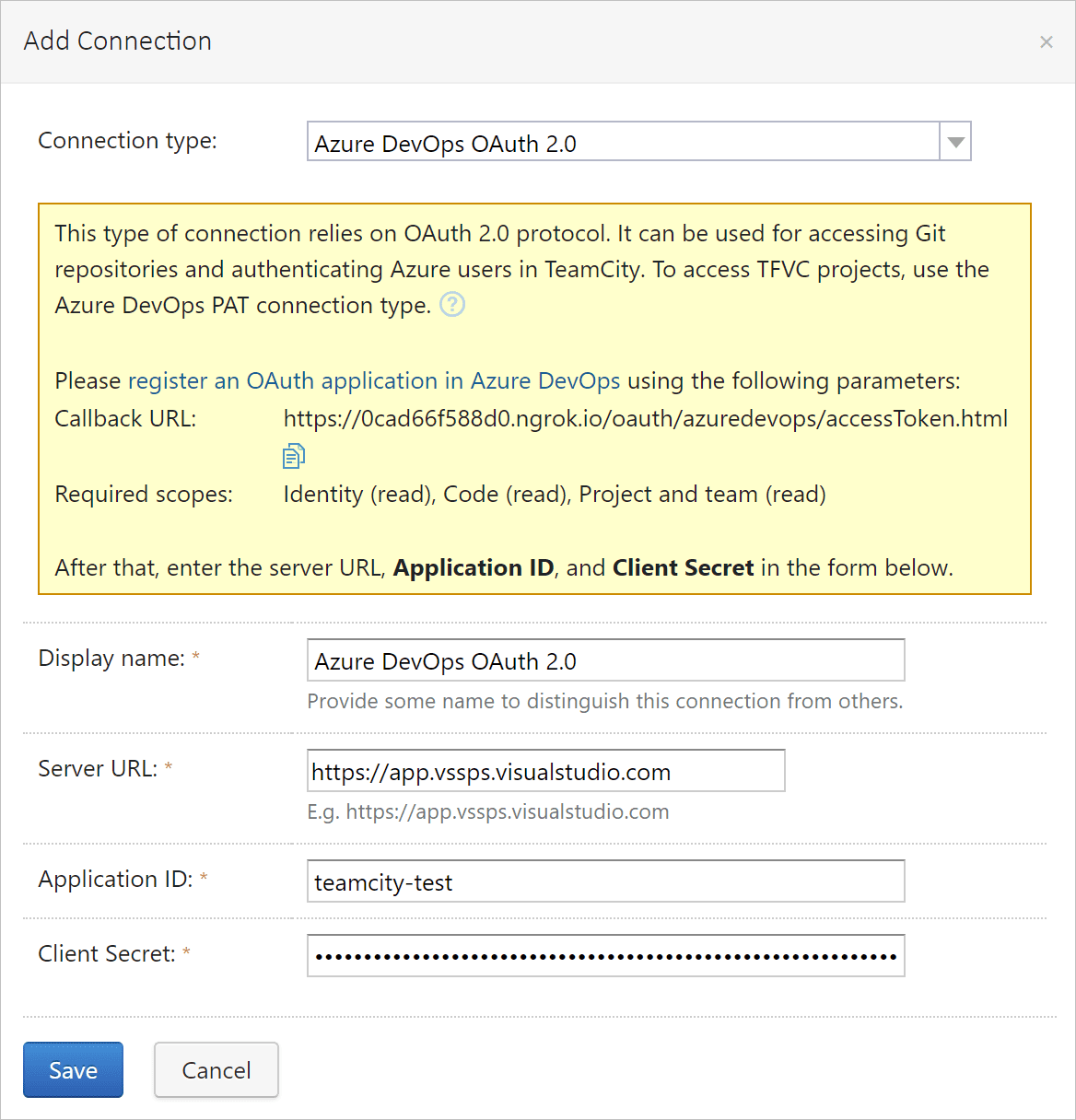 Azure DevOps connection in TeamCity