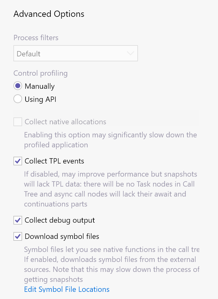 """dotTrace advanced options, including the """"download symbol files"""" option"""