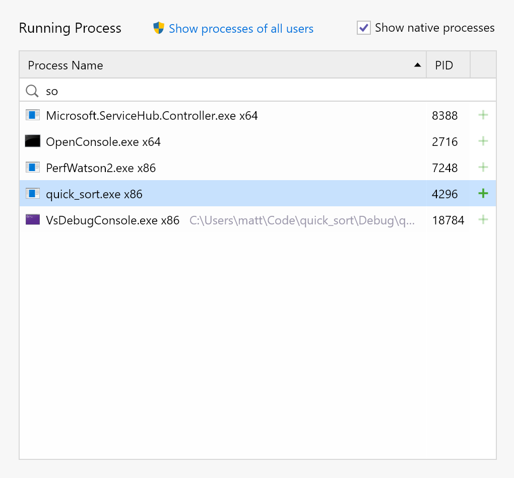 The dotTrace home screen shows running processes, including native processes
