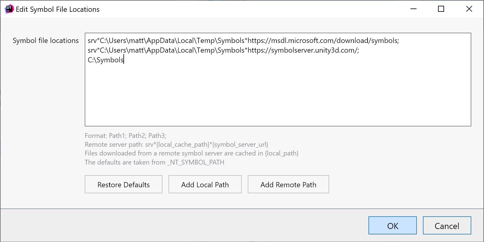 Symbol file location options dialog