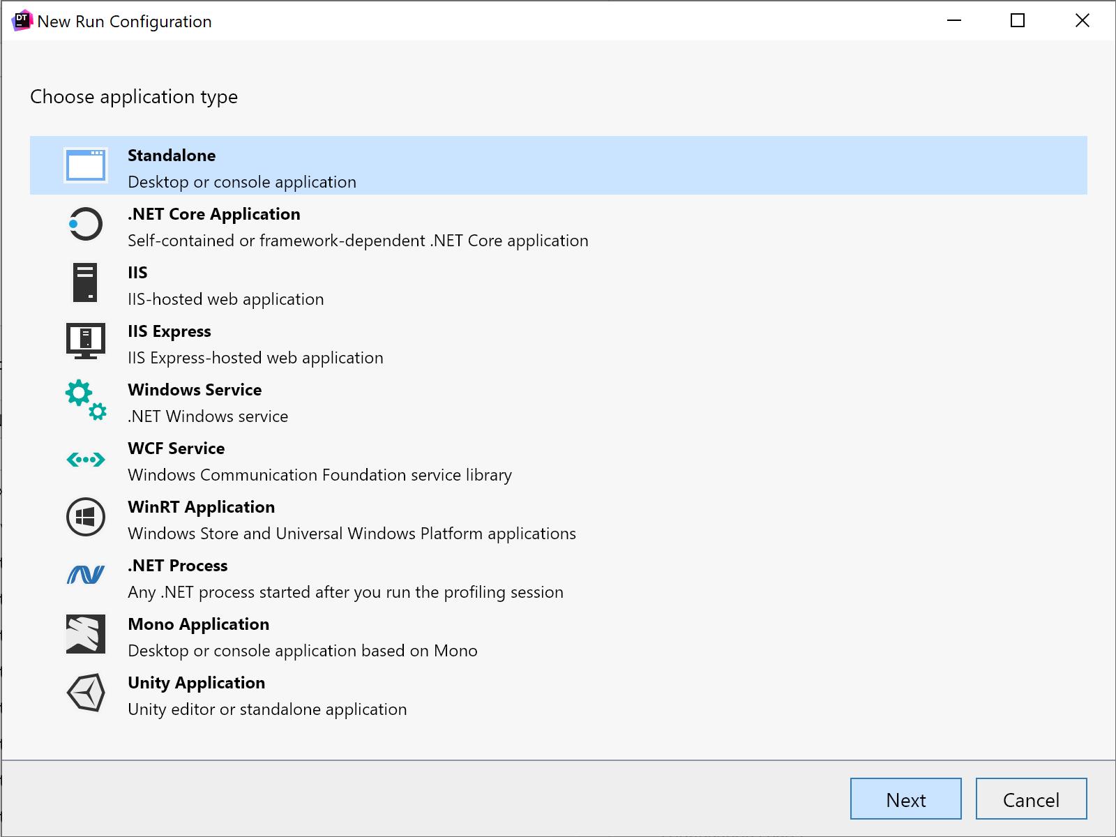 Create new standalone application run configuration