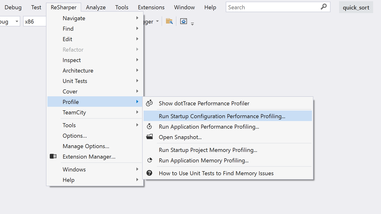 The ReSharper Profile menu allows running the start configuration with dotTrace profiling
