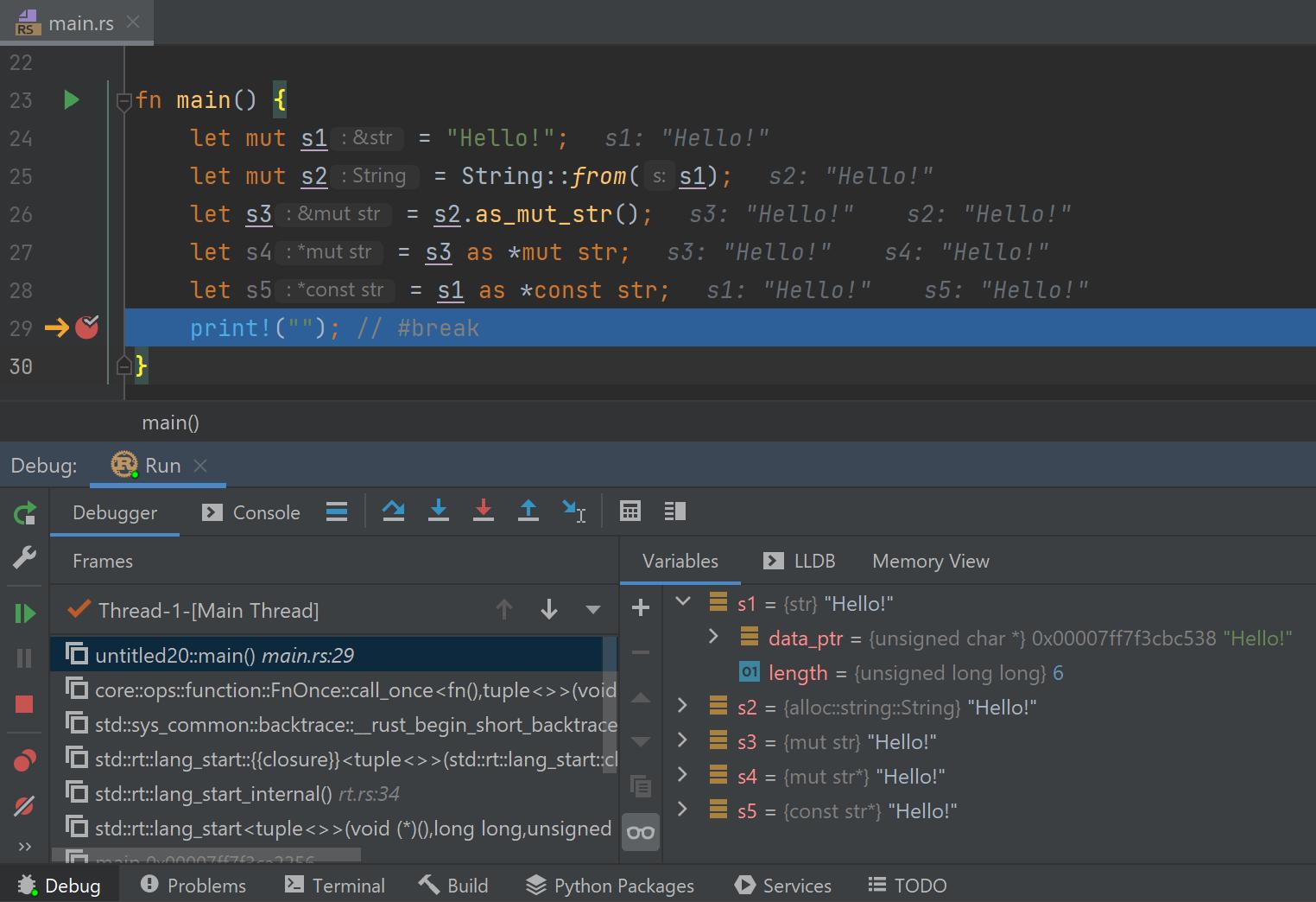 LLDB renderers for &str