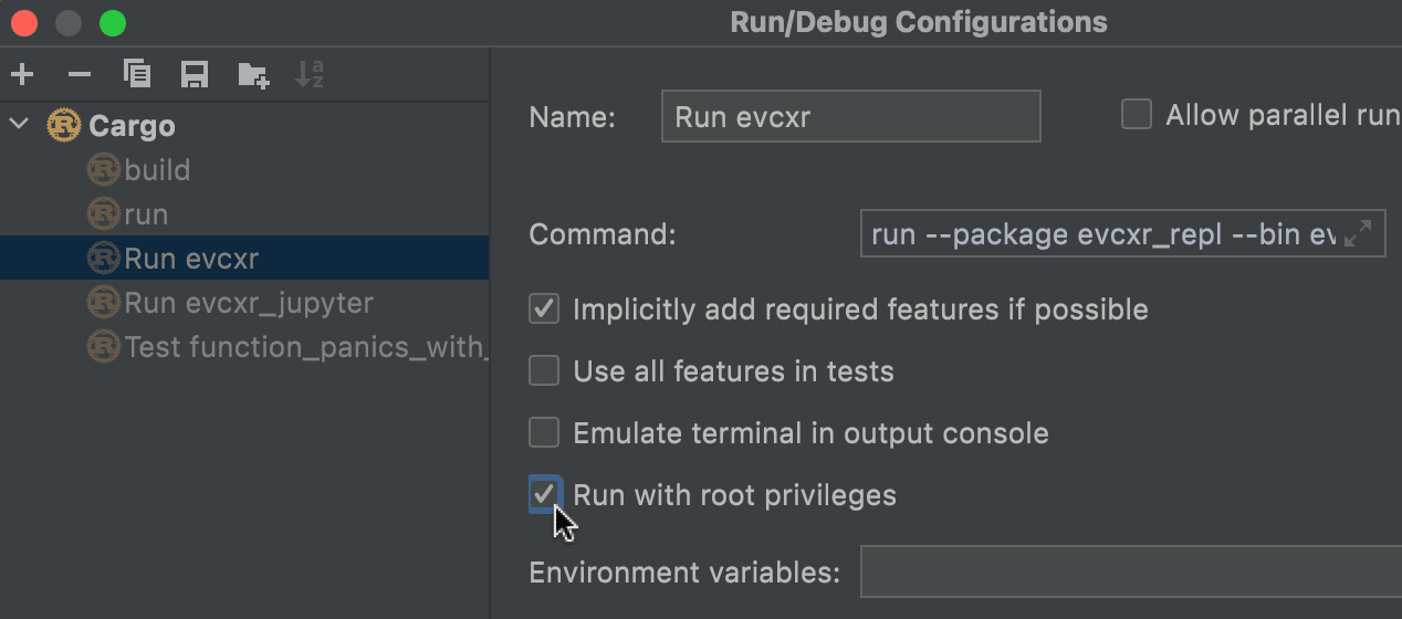 Option to run with root privileges