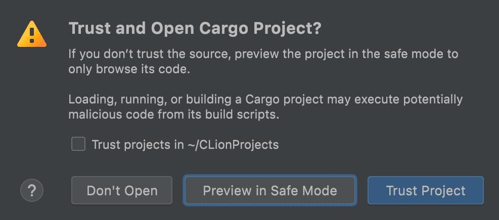 Trust a Cargo project dialog