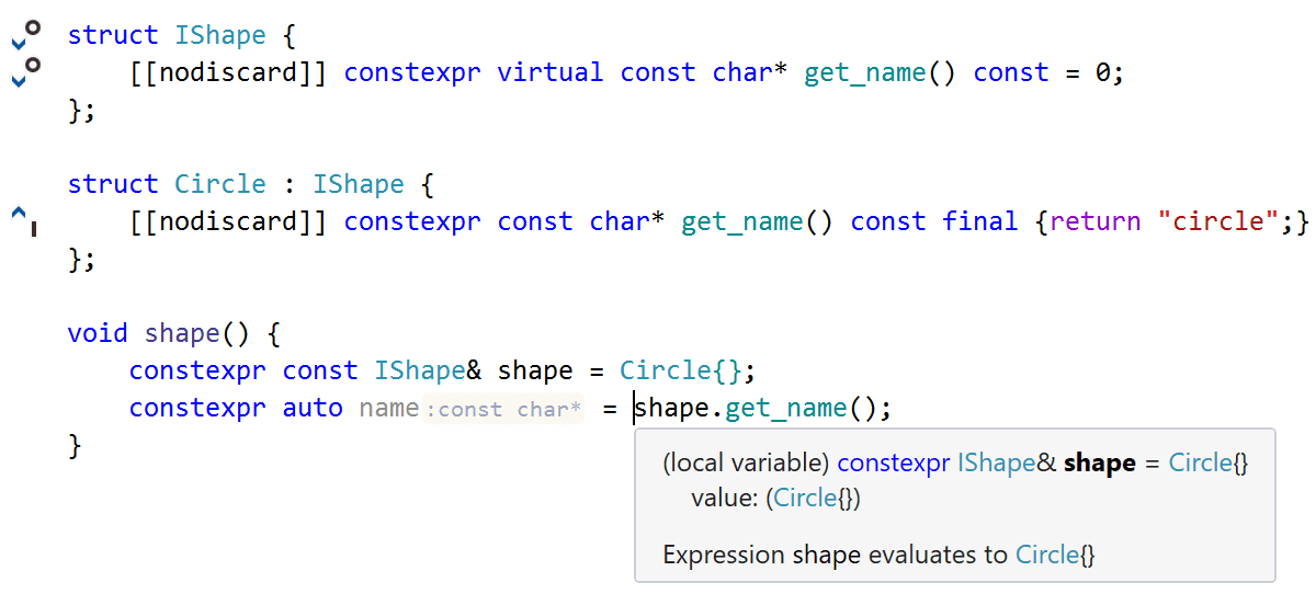 С++20 constexpr virtual
