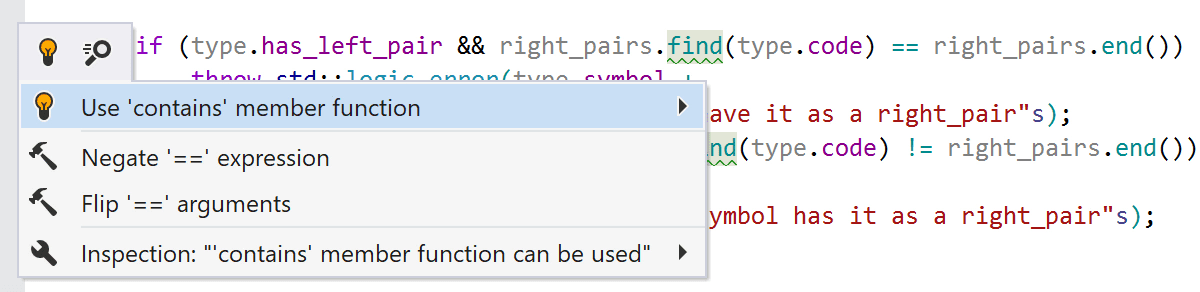 'contains' member function can be used