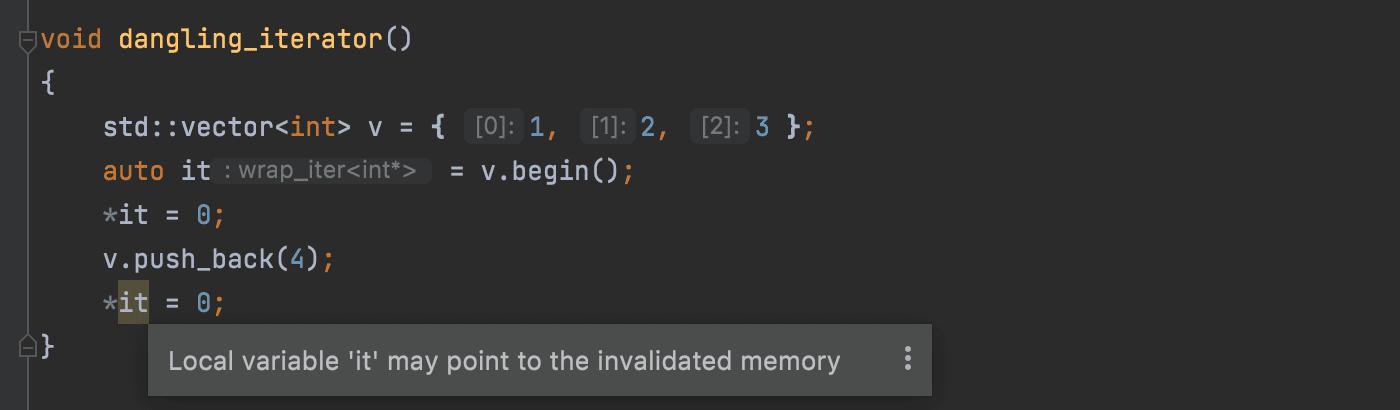Dangling iterator