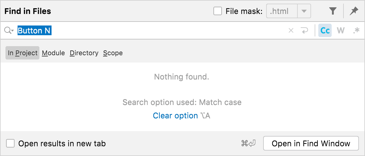 Find in Path yields no results when searching for Button N